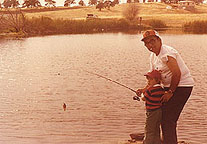 "Milt fishing with his grandson at what would be later called ""Alfier Park"""